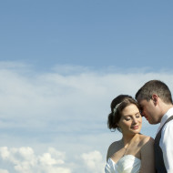 Beautiful wedding photo of a couple in the evening light Niagara ON