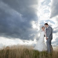 Dramatic sky wedding photography