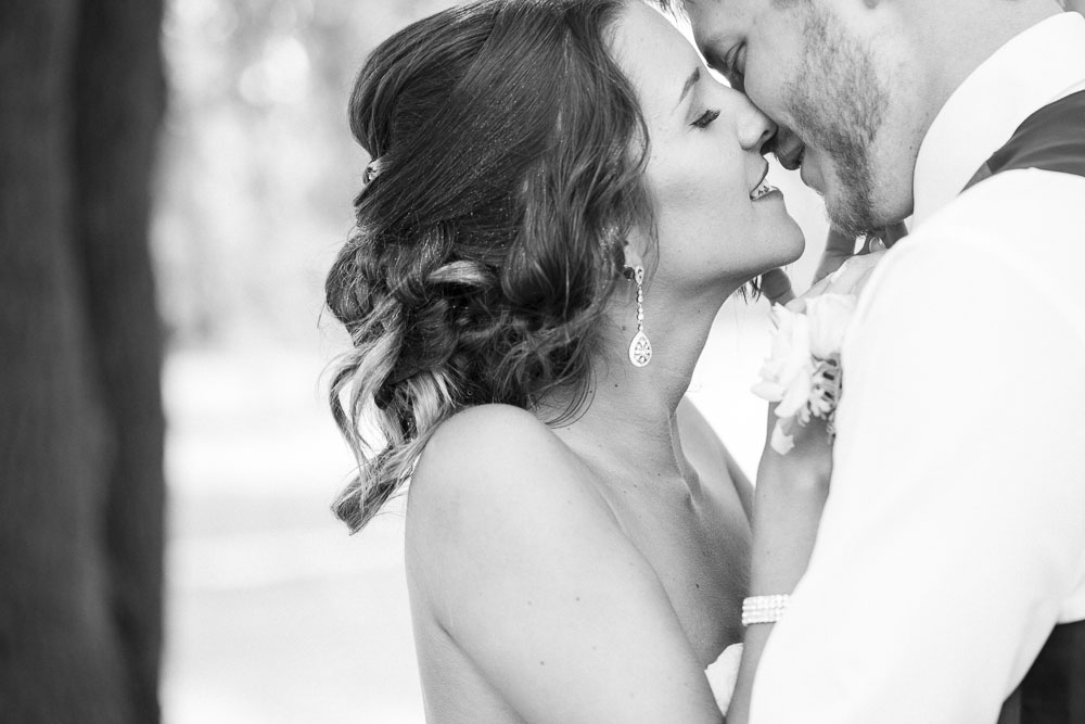 Beautiful wedding photo of a couple about to kiss
