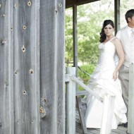 Rustic wedding photo of a bride and groom