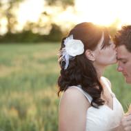 Wedding photo in a country wheat field