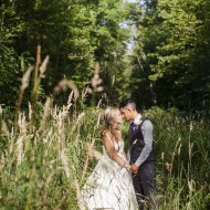 Bridal portraits in a field