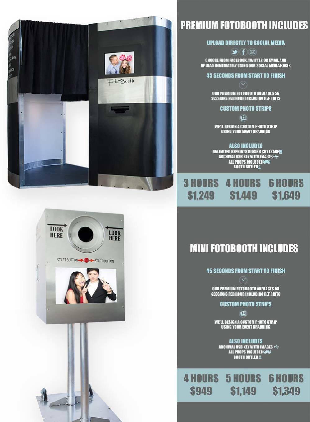 Photo booth rentals and rates