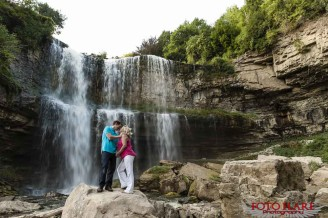 Engagement photo under Websters falls in Dundas