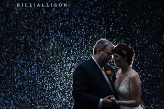 Wedding photo in the rain