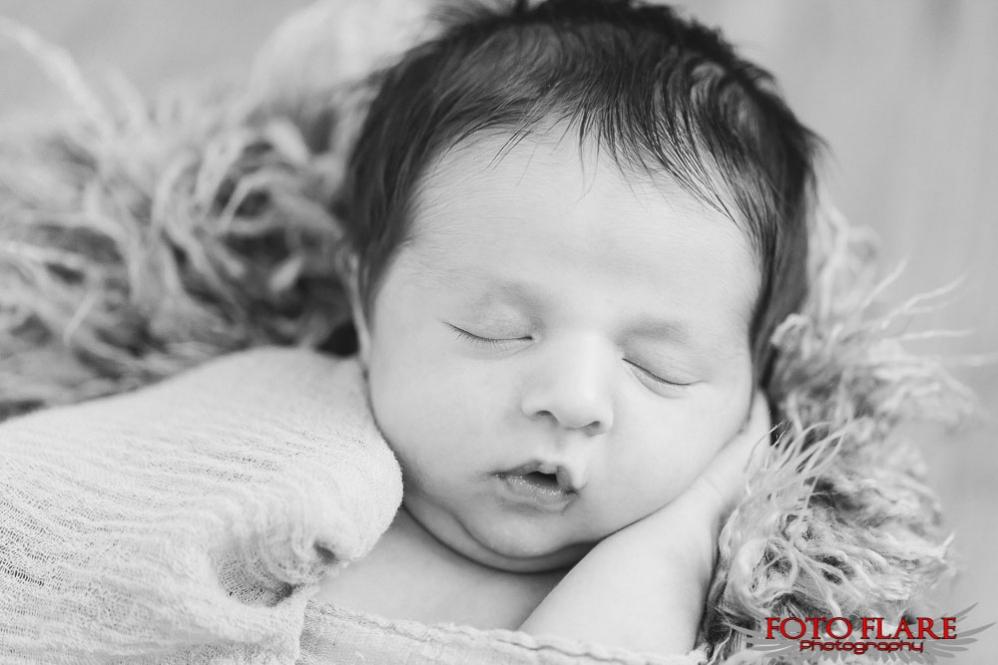 B&W portrait of Kaiden sleeping