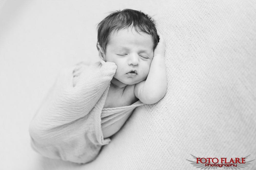 B&W photograph of Kaiden sleeping